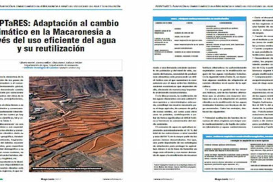 """Reportaje sobre ADAPTaRES en el Especial """"AGUAS"""" de la revista RETEMA, Revista Técnica de Medio Ambiente"""